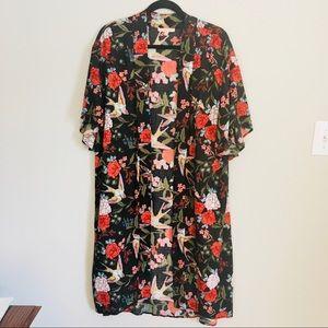 Gibson Latimer black kimono duster floral w/ birds